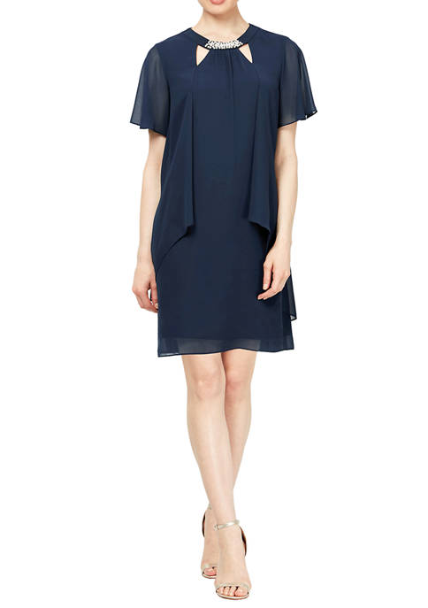 Short Sleeve Chiffon Cut Out Pearl Neck Dress