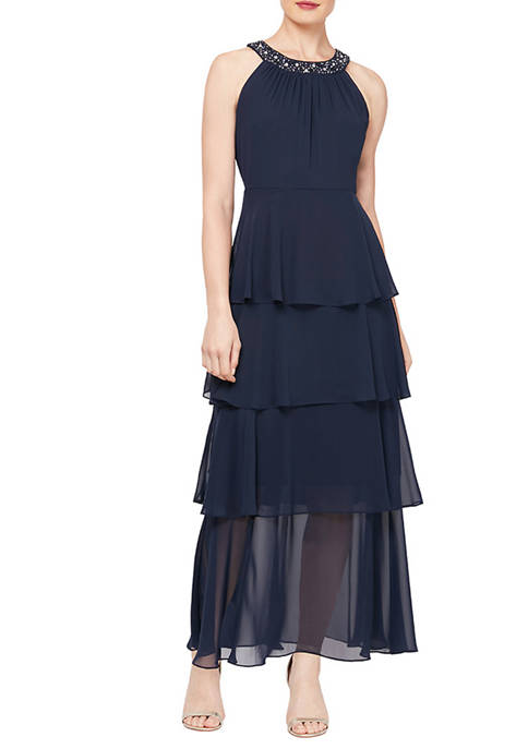 Womens Tiered Tea Length Dress