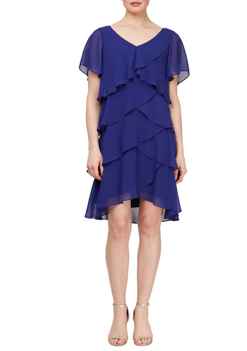 Womens Short Sleeve Tulip Tier Dress