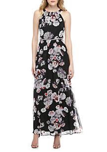 SLNY Bead Embellished Printed Chiffon Maxi Dress