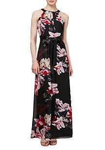Floral Printed Halter Dress
