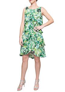 Sleeveless Printed Tiered Dress