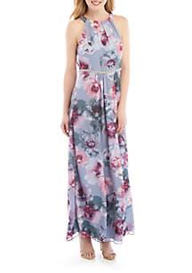 SLNY Floral Halter Maxi Dress