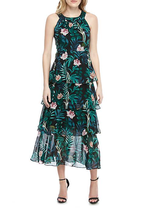 Tiered Floral Halter Maxi Dress