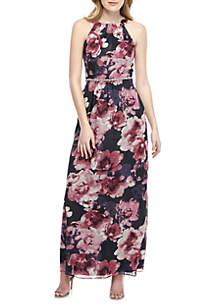 SLNY Bead Embellished Printed Maxi Dress
