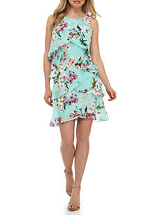 SLNY Sleeveless Tiered Chiffon Dress