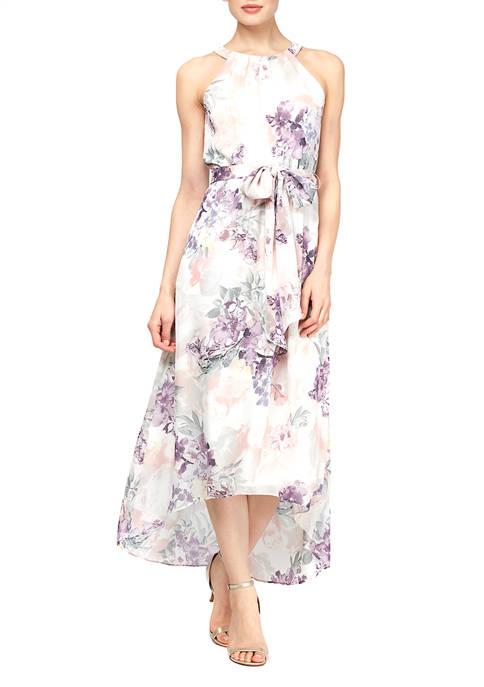 Sleeveless Printed Floral Halter Maxi Dress