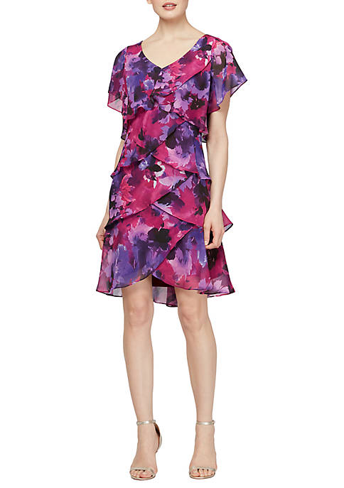 SLNY Short Sleeve Blurred Floral Print Tiered Dress