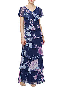 SLNY Short Sleeve Printed Lurex Tiered Long Dress