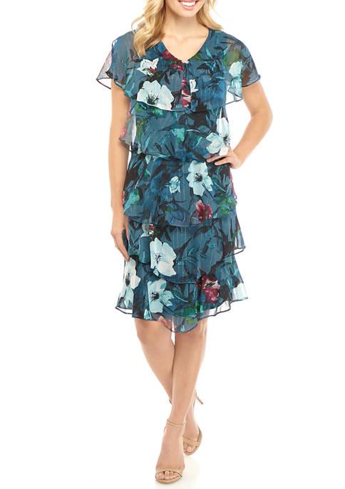 Womens Short Sleeve Tier Print Short Dress