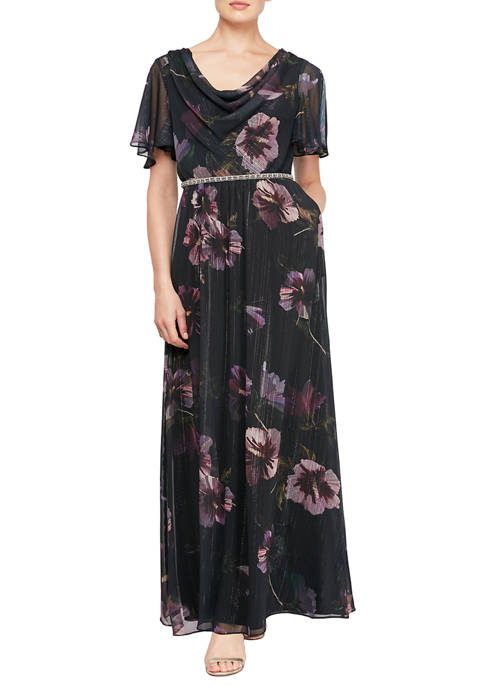 SLNY Womens Short Sleeve Cowl Neck Printed Maxi