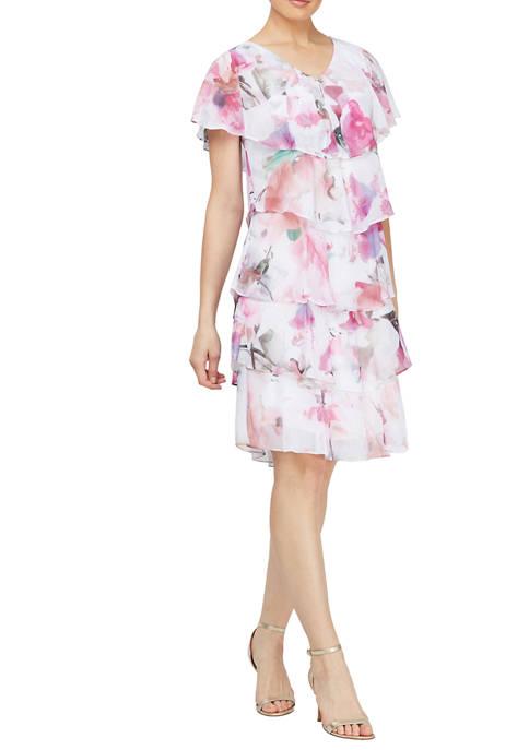 Womens Short Sleeve Floral Tier Chiffon Dress