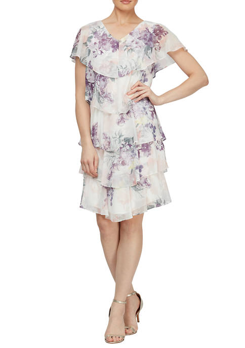 SLNY Womens Floral Tier Chiffon Dress with Rhinestone