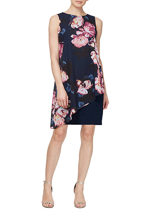 SLNY Sleeveless Multi Color Floral Overlay Dress with
