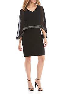 Foil Trim Popover Capelet Dress