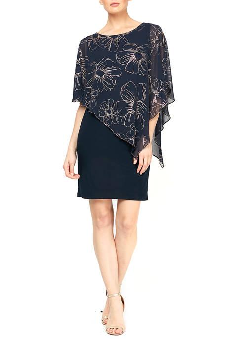 Asymmetrical Overlay Sheath Dress