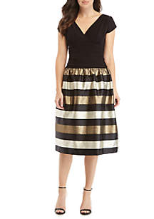 Cap Sleeve Metallic Stripe Dress