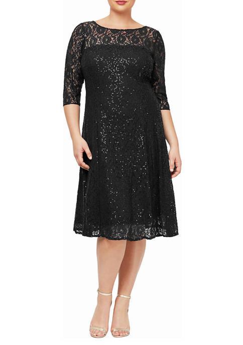 Womens 3/4 Sleeve T-Length Lace Dress