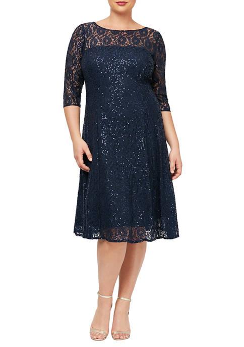 SLNY Womens 3/4 Sleeve T-Length Lace Dress