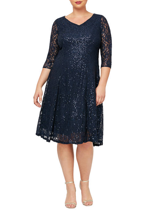 Plus Size Tea Length Sequined Dress