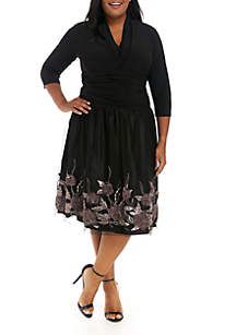 Plus Size 3/4 Sleeve Embroidered Dress