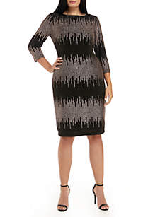 Plus Size Striped Metallic Dress
