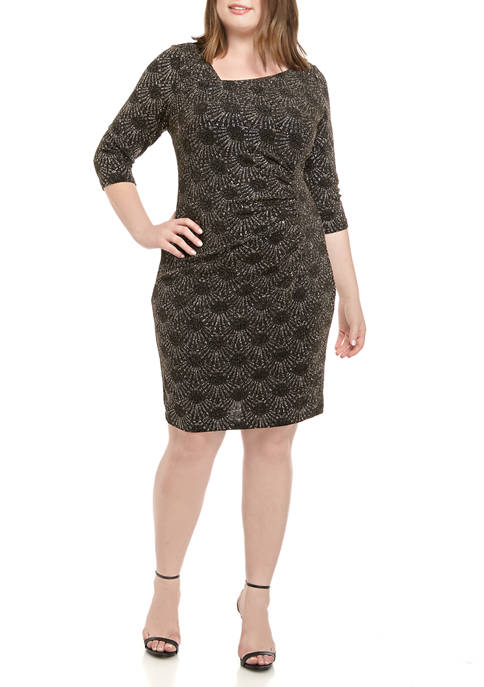 Plus Size 3/4 Sleeve Sparkle Sunburst Side Ruched Dress