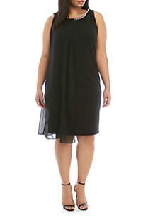 SLNY Plus Size Sleeveless Overlay Pearl Neck Dress