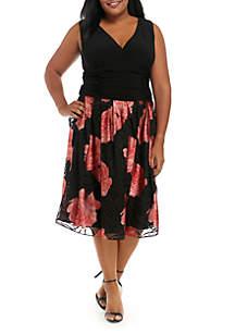 Plus Size V-Neck Floral Party Dress
