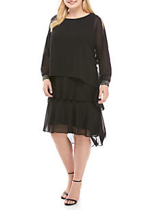 Plus Size Solid Long Sleeve Dress with Dolman Sleeves