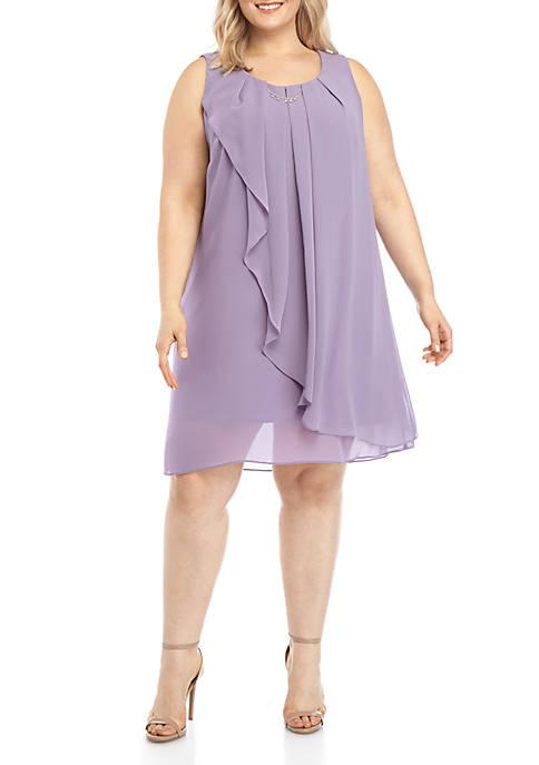 SLNY Plus Size Sleeveless Chiffon A Line Dress