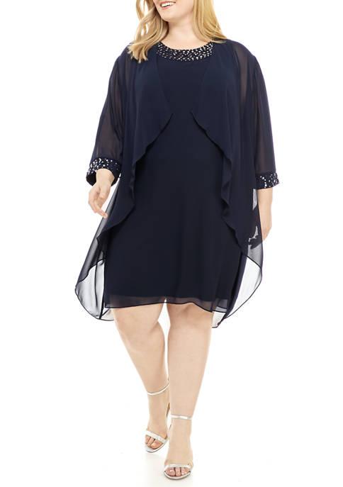 Plus Size Chiffon Jacket Dress with Trim