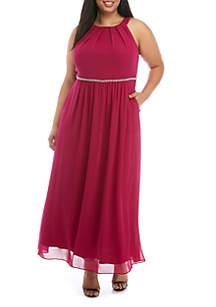 SLNY Plus Size Embellished Chiffon Maxi Dress