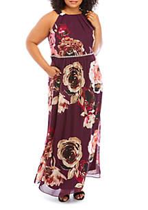 SLNY Plus Size Printed Halter Maxi Dress