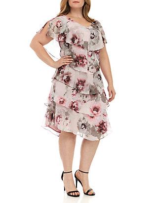 SLNY Plus Size Short Sleeve Tier Dress   belk
