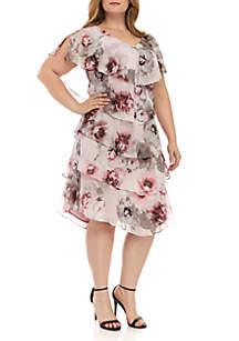 SLNY Plus Size Short Sleeve Tier Dress