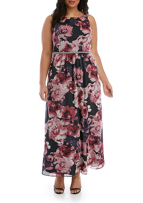 Plus Size Floral Printed Maxi Dress