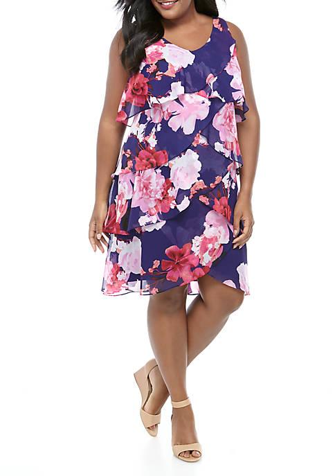 Plus Size Sleeveless Tiered Chiffon Dress