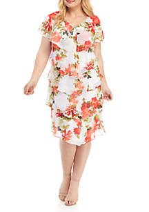 SLNY Plus Size Short Sleeve Tiered Chiffon Dress