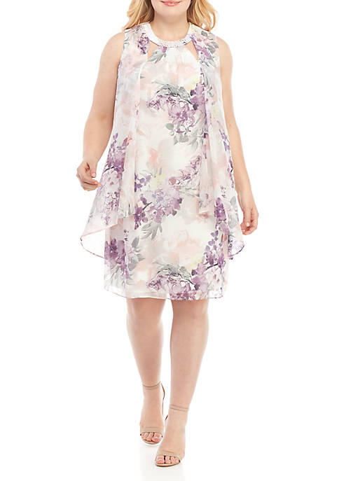 Plus Size Pearl Neck Floral A Line Dress