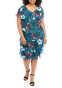 SLNY Plus Size Short Sleeve Tier Print Dress