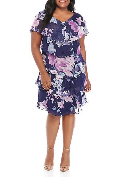 SLNY Plus Size Short Sleeve Tiered Print Dress