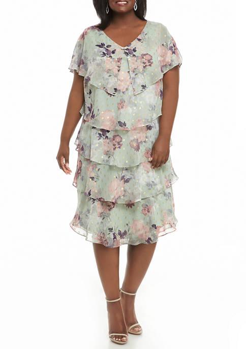 Plus Size Floral Print Foil Clip Dot Gold Rhinestone Trim Dress