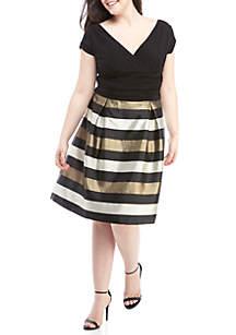 Plus Size Metallic Stripe Crossover V-Neck Dress