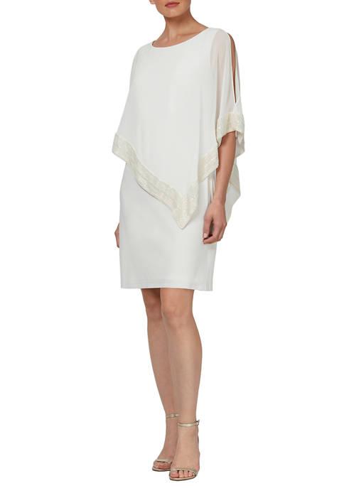 Womens Mylar Trim Capelet Dress