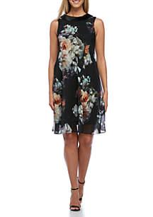 Sleeveless Floral Chiffon Dress
