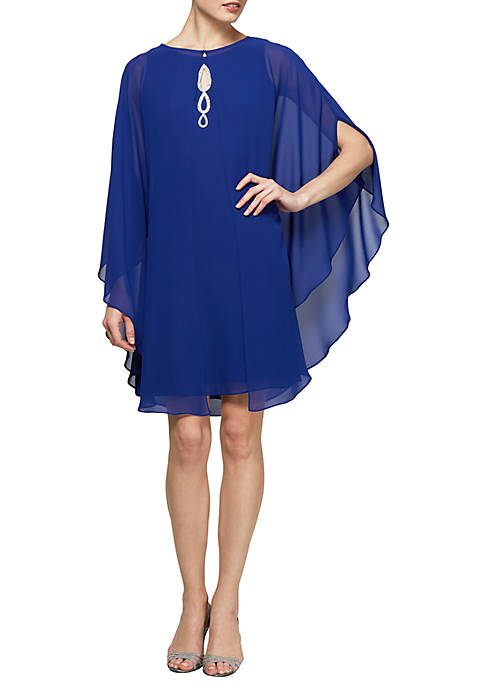 Keyhole Neck Dress with Capelet