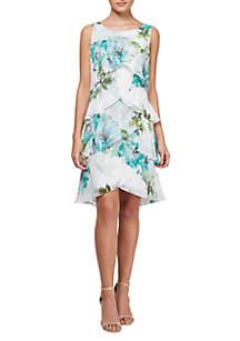 Sleeveless Tiered Floral Short Dress