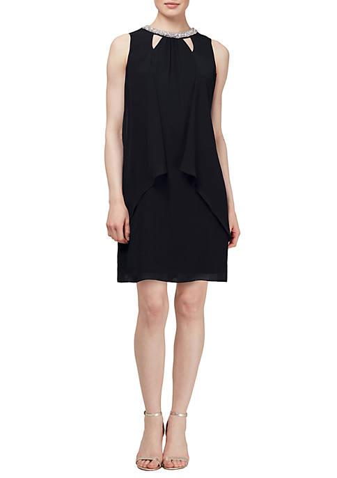 Sleeveless Cutout Bead Neck Split Front Dress