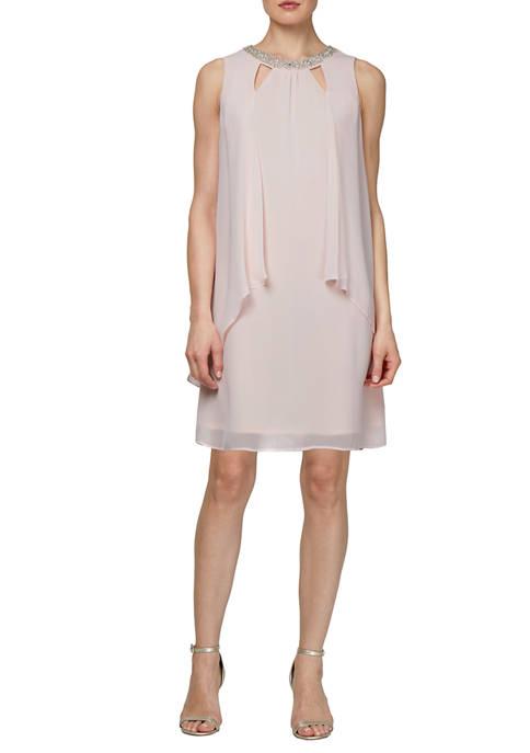 SLNY Sleeveless Cutout Bead Neck Split Front Dress
